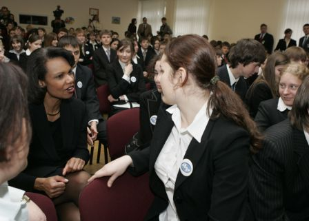 Secretary Rice arrived early at one of his stops, a Pepfar event at school 57, and had a chance to mingle with the students of the school before the event. White House photo