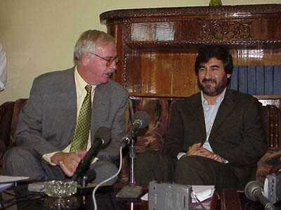 U.S. Ambassador Robert P. Finn (left) and Afghan Commerce Minister Sayed Mustafa Kazemi during a press conference following the signing of an agreement in which the United States will provide Afghanistan with an Internet Center.  The Center will be available to Afghan dealers and traders who want to sell their products and services worldwide via the Internet.
