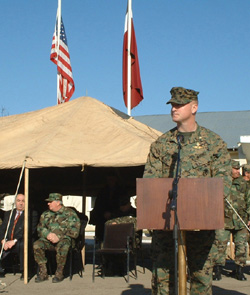Maj. Scott Campbell, Task Force GTEP Commanding Officer, addresses the audience at the Feb. 1, 2003 opening ceremony for Phase IIIB.