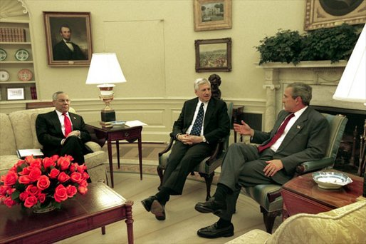 President Bush meets with Senator John Danforth and Secretary Powell