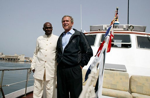 Goree Island, Senegal: President George W. Bush and President Abdoulaye Wade of Senegal ride aboard the Presidential Yacht to Goree Island, Senegal. White House Photo/Paul Morse.