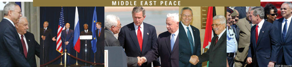 Photo collage titled Middle East Peace depicting President George W. Bush, Secretary Powell, and other Quartet and Israeli and Palestinian officials. Photos � AP Wideworld.