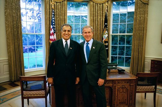 President George W. Bush stands with Dr. Zalmay Khalilzad of Maryland, who he has nominated as Ambassador to Afghanistan in the Oval Office Monday, Sept. 22, 2003. Dr. Khalilzad currently serves as Special Presidential Envoy to Afghanistan, a role he will retain after he is confirmed as Ambassador. White House photo by Eric Draper