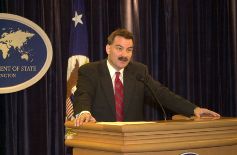 Assistant Secretary Charles delivers remarks on the 2003 International Narcotics Control Strategy Report. State Department photo by Franklin Jones.