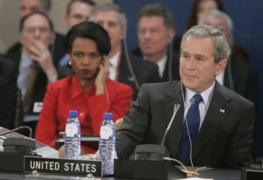 Secretary of State Condoleezza Rice and President George W. Bush attend the NATO summit in Brussels, Belgium, Tuesday Feb. 22, 2005.