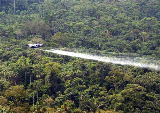 A National Police OV-10 plane sprays herbicides over a coca field in Colombia. [AP/WWP file photo]