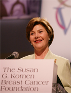 Mrs. Laura Bush addresses an audience at the Susan G. Komen Breast Cancer Foundation's 2006 Mission Conference on June 12 in Washington, DC. White House photo by Shealah Craighead