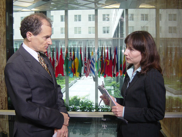 Assistant Secretary Fried, at left, being interviewed by Yasemin Congar of CNN Turk.
