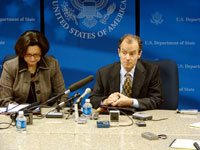 Assistant Secretary for European and Eurasian Affairs Daniel Fried, right, and Deputy Assistant Secretary Rosemary DiCarlo, left, during briefing at the State Department on the Kosovo Future Status Process. [State Dept. photo]