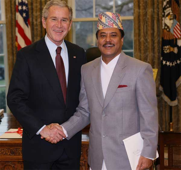 Photo: President Bush With Ambassador Suresh Chandra Chalise of Nepal