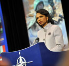 Secretary Rice holds press conference at the meeting of NATO Foreign Ministers. Photo credit: NATO