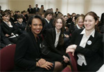 Secretary Rice mingles with students at Kyiv Special English School 57 in Ukraine. [White House photo]
