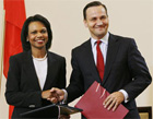 Secretary Rice and Poland's Foreign Minister Radoslaw Sikorski shake hands after signing Missile Defense Agreement. [AP Images]
