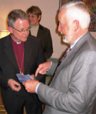 Jim Boyd ,right, speaks with the Archbishop of Sweden, Anders Wejryd, November 2007. [Robert Hilton, U.S. Embassy Stockholm]