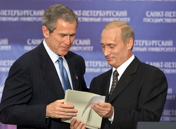 Photo U S President George W Bush And Russian President Vladimir Putin