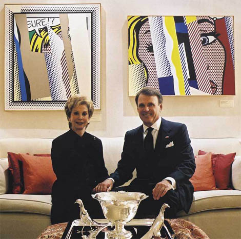 U.S. Ambassador to Denmark Stuart A. Bernstein and Mrs. Bernstein and Lichtenstein paintings, 2002