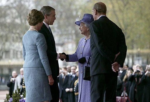 President George W. Bush and Laura Bush are greeted by Her Majesty Queen Elizabeth and Prince Philip, Duke of Edinburgh, at Buckingham Palace in London Wednesday, Nov. 19, 2003. White House Photo.