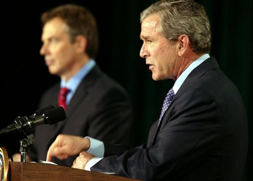President George W. Bush and British Prime Minister Tony Blair conduct a joint news conference at Camp David concerning the war in Iraq Thursday, March 27, 2003. White House photo by Paul Morse.