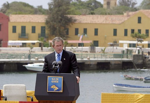 President George W. Bush delivers remarks after touring Goree Island, Senegal, Tuesday, July 8, 2003.
