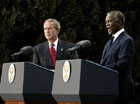 Presidents Bush and Mbeki speak to the media at the Guest House in Pretoria, South Africa, Wednesday, July 9, 2003. �I must say, President Bush, that at the end of these discussions, we, all of us, feel enormously strengthened by your very, very firm and clear commitment to assist us to meet the challenges that we've got to meet domestically and on the African continent,� said President Mbeki. White House photo by Paul Morse.