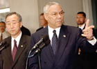 Secretary Powell and South Korean Foreign Minister Ban speak at microphones, Washington DC, March 4, 2004. State Dept. photo Michael Gross.