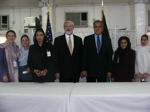 U.S. Ambassador Zalmay Khalilzad and Deputy Secretary of Agriculture James Moseley met Monday, April 19, with four of the twelve Afghan women who will travel to the United States for two weeks of training in agricultural development as part of the 2004 Cochran Fellowship program.