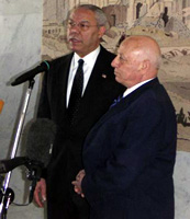 Secretary Powell with Palestinian Authority Prime Minister Ahmed Qurei speak to the press.. [State Department photo]