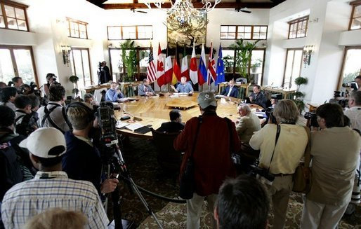 President Bush participates in a plenary meeting with leaders during the G8 Summit on Sea Island, Ga., Wednesday, June 9, 2004.