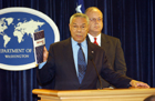 Secretary Powell and Coordinator for Counterterrorism Ambassador Cofer Black announce release of revised Patterns of Global Terrorism report. State Department photo by Michael Gross.