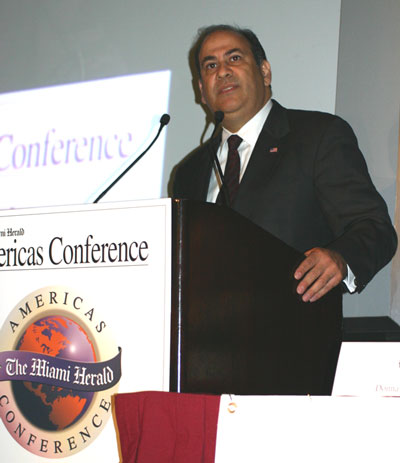 Assistant Secretary Noriega addresses the Miami Herald's Americas Conference in Coral Gables, Florida on September 30, 2004. State Dept. Photo.