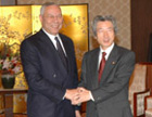 Secretary Powell shakes hands with Prime Minister Junichiro Koizumi. State Department Photo.