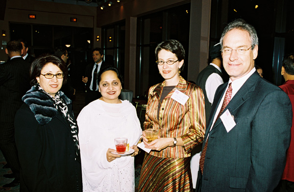 Left to  Right: Ms. Saoudeh Matar from Jordan, Dr. Samia Amjad from Pakistan, with Sharon Hudson-Dean, and Larry Schwartz  of the South Asia Bureau. Ms. Matar and Dr. Amjad are in the U.S.  to observe our elections as part of an ACYPL group. State Department Photo.