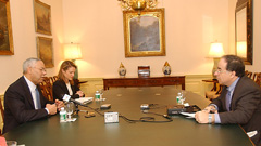 Secretary Powell was interviewed by Samir Nader of Radio Sawa on December 2.  State Department Photo.