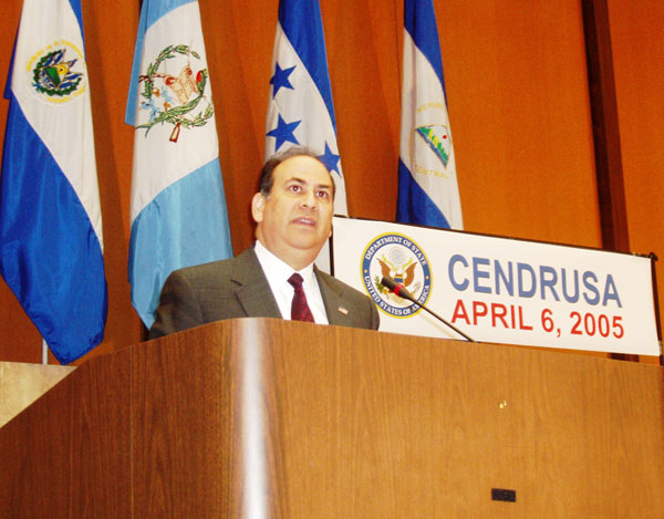 Assistant Secretary Noriega addresses an audience of Central American and Dominican Republic community leaders in the U.S. on behalf of the Central America-Dominican Republic Free Trade Agreement.