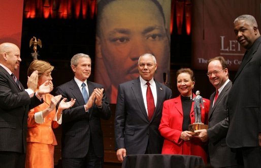 Secretary Powell and his wife Alma are accompanied by President Bush and Mrs. Bush while the Secretary and Mrs. Powell received the John Thompson Legacy of a Dream Award from Georgetown University.