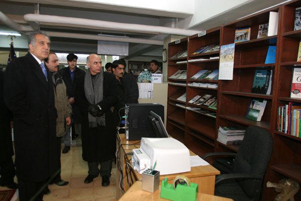 Ambassador and Special Presidential Envoy Zalmay Khalilzad and Chancellor of Kabul University Dr. Ghani opened the U.S. sponsored American Corner at Kabul University.