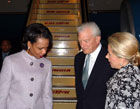 Secretary Rice is greeted by Ambassador David C. Mulford and Mrs. Jeannie Mulford on her arrival in New Delhi, India on March 15, 2005.