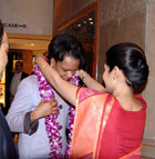 Secretary Rice is greeted with a traditional welcome at Maurya Sheraton hotel on arrival in New Delhi,India.
