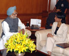 Secretary Rice met with Prime Minister Manmohan Singh of India