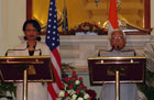 Secretary Rice with Indian Foreign Minister Natwar Singh at press conference