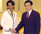 Secretary Rice shakes hands with Chinese President Hu Jintao. Beijing, China, March 20, 2005. AP/Wide World Photo.