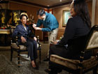 Secretary Rice prepares for interview with NBC�s Rosalind Jordan.