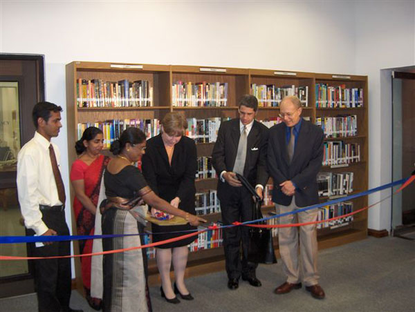 Assistant Secretary of State Christina Rocca officially re-opened the library at the American Center in Sri Lanka.
