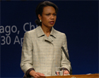 Secretary Rice addresses the Community of Democracies conference. Santiago, Chile, April 28, 2005. State Dept. photo.