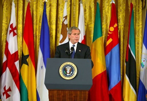 President George W. Bush announced the 16 countries selected for the Millennium Challenge Account during a White House ceremony in the East Room Monday, April 10, 2004