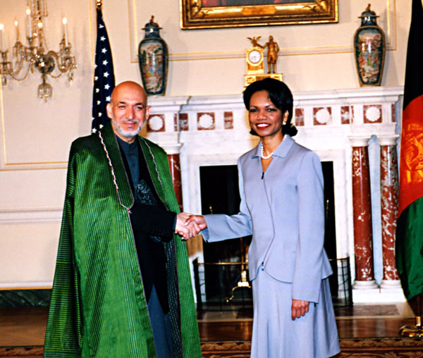 Secretary Rice with His Excellency Hamid Karzai, President of the Islamic State of Afghanistan. State Department photo by Michael Gross.