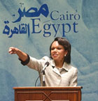Secretary Rice gestures during her speech at the American University in Cairo, Egypt, Monday, June 20, 2005. AP/Wide World photo