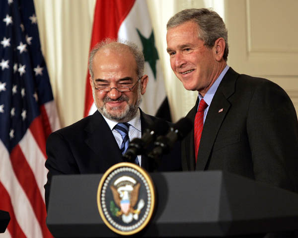 President Bush and Iraqi Prime Minister al-Jaafari at White House press podium