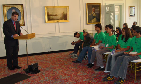 Deputy Assistant Secretary John Gastright addressing a group of Afghan, Pakistani and Indian students on a Seeds of Peace conflict resolution and leadership training exchange program.