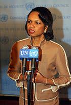 During her travel to New York for the United Nations 60th General Assembly, Secretary Rice spoke to the press at UN headquarters. State Department Photo by Michael Gross